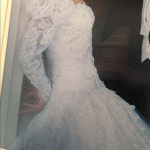 Tule wedding white dress, long beautiful train